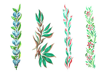 watercolor branches of different styles