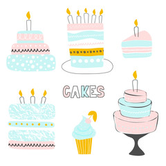 Set of cute hand-drawn cakes with candles.Vector illustration
