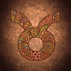 Zodiac taurus zentangle sign doodle symbol