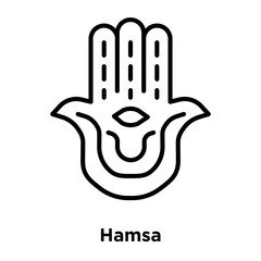 Hamsa icon vector isolated on white background, Hamsa sign , thin line design elements in outline style