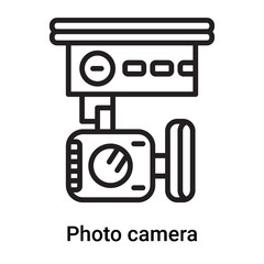 Photo camera icon vector isolated on white background, Photo camera sign , line or linear symbol and sign design in outline style