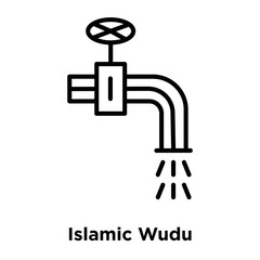 Islamic Wudu icon vector isolated on white background, Islamic Wudu sign , thin line design elements in outline style