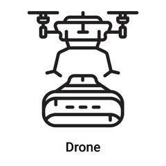 Drone icon vector isolated on white background, Drone sign , line or linear symbol and sign design in outline style