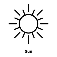 Sun icon vector isolated on white background, Sun sign , line and outline elements in linear style