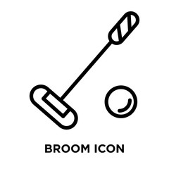 Broom icon vector isolated on white background, Broom sign , linear symbol and stroke design elements in outline style
