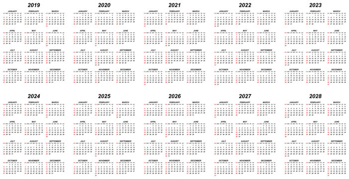 Ten years simple editable vector calendars for year 2019 2020 2021 2022 2023 2024 2025 2026 2027 2028 sundays in red first