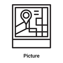 Picture icon vector isolated on white background, Picture sign , line or linear symbol and sign design in outline style