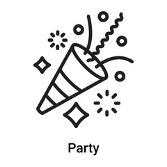 Party icon vector isolated on white background, Party sign , line or linear symbol and sign design in outline style