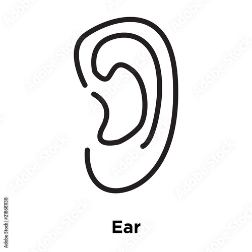 ear icon vector isolated on white background ear sign line and
