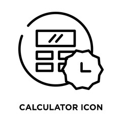 Calculator icon vector isolated on white background, Calculator sign , line symbol or linear element design in outline style