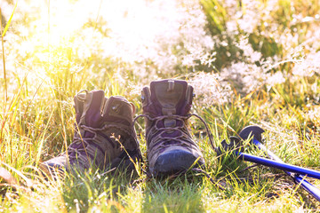 boots and Trekking poles