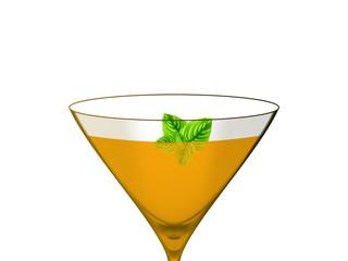 Bebida cor de laranja num fundo branco