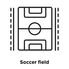 Soccer field icon vector isolated on white background, Soccer field sign , sign and symbols in thin linear outline style