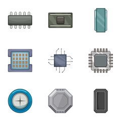 Microprocessor chip icons set. Cartoon set of 9 microprocessor chip vector icons for web isolated on white background