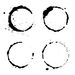 Grunge coffee stains. Ink, wine, water, paint or other liquid cup stains. Design element. Spray splashes collection. Abstract vector illustration.