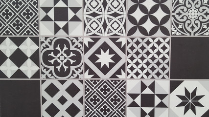seamless Lisbon tiles black and white background