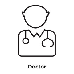 Doctor icon vector isolated on white background, Doctor sign , sign and symbols in thin linear outline style