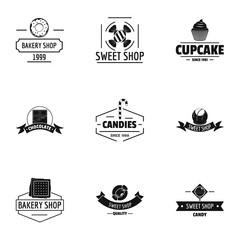 Bake mart logo set. Simple set of 9 bake mart vector logo for web isolated on white background