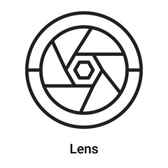 Lens icon vector isolated on white background, Lens sign , line or linear symbol and sign design in outline style