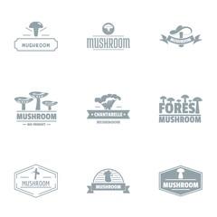 Mushroom edge logo set. Simple set of 9 mushroom edge vector logo for web isolated on white background