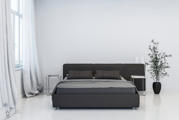 Contemporary bedroom with black bed and pot