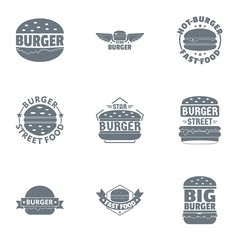 Black burger logo set. Simple set of 9 black burger vector logo for web isolated on white background