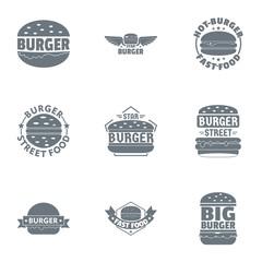Black burger logo set. Simple set of 9 black burger vector logo for web isolated on white background