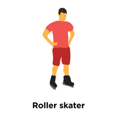 Roller skater icon vector isolated on white background, Roller skater sign , standing human or people cartoon character illustration