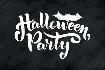 Postcard phrase for Happy Halloween. Modern and stylish hand drawn lettering Quote. Horror. Boo. Text banner on background for Halloween Party Night.
