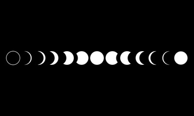 Moon phases astronomy icon set Vector Illustration on the black background.