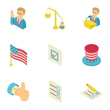 American dream icons set. Isometric set of 9 american dream vector icons for web isolated on white background