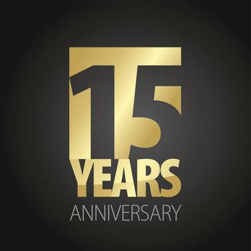 15 Years Anniversary gold black logo icon banner