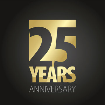 25 Years Anniversary gold black logo icon banner
