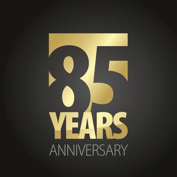 85 Years Anniversary gold black logo icon banner