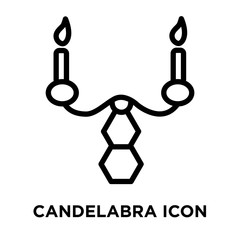 Candelabra icon vector isolated on white background, Candelabra sign , linear and stroke elements in outline style