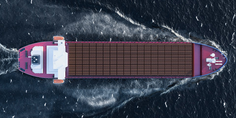 Freighter ship with wooden logs in ocean, top view. 3D rendering