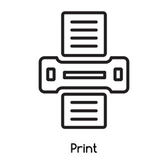 Print icon vector isolated on white background, Print sign , line or linear design elements in outline style