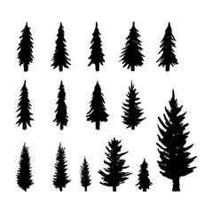 Set. Silhouette of pine trees.