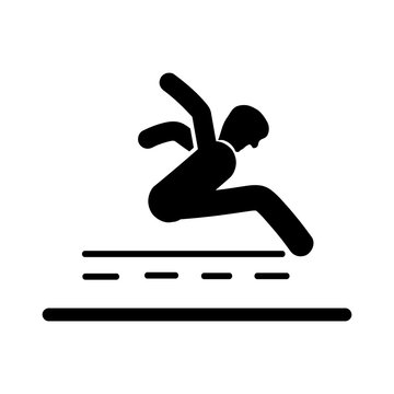 Long Jump icon vector isolated on white background, Long Jump sign