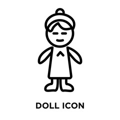 Doll icon vector isolated on white background, Doll sign , linear and stroke elements in outline style