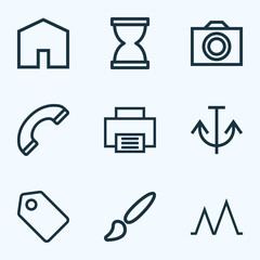 Interface icons line style set with sandglass, painting, printer hourglass  elements. Isolated vector illustration interface icons.