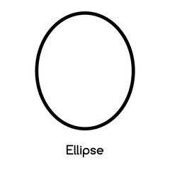 Ellipse icon vector isolated on white background, Ellipse sign , line or linear design elements in outline style
