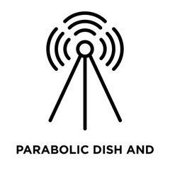 Parabolic Dish and Signal icon vector isolated on white background, Parabolic Dish and Signal sign , linear and stroke elements in outline style