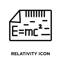 Relativity icon vector isolated on white background, Relativity sign , linear and stroke elements in outline style