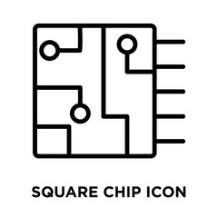 Square Chip icon vector isolated on white background, Square Chip sign , linear and stroke elements in outline style
