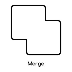 Merge icon vector isolated on white background, Merge sign , line or linear design elements in outline style