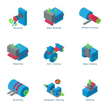 Creation icons set. Isometric set of 9 creation vector icons for web isolated on white background