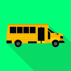 Kids bus of school icon. Flat illustration of kids bus of school vector icon for web design