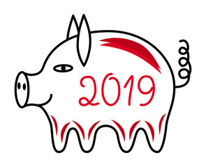 The pig is a symbol of 2019. Year of the yellow pig. Vector black and white and red drawing.