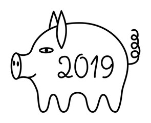 The pig is a symbol of 2019. Year of the yellow pig. Vector black and white drawing.